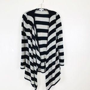 Joseph A Silver Black Striped Long Open Cardigan S